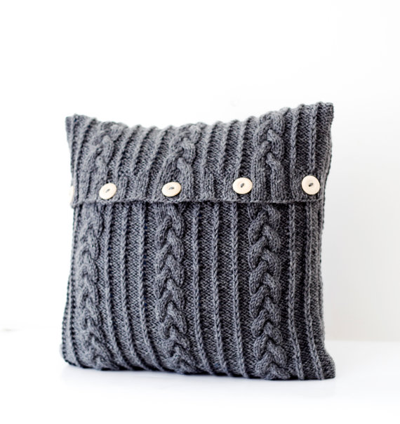 Chantele's Etsy Finds – Grey Knitted Pillow