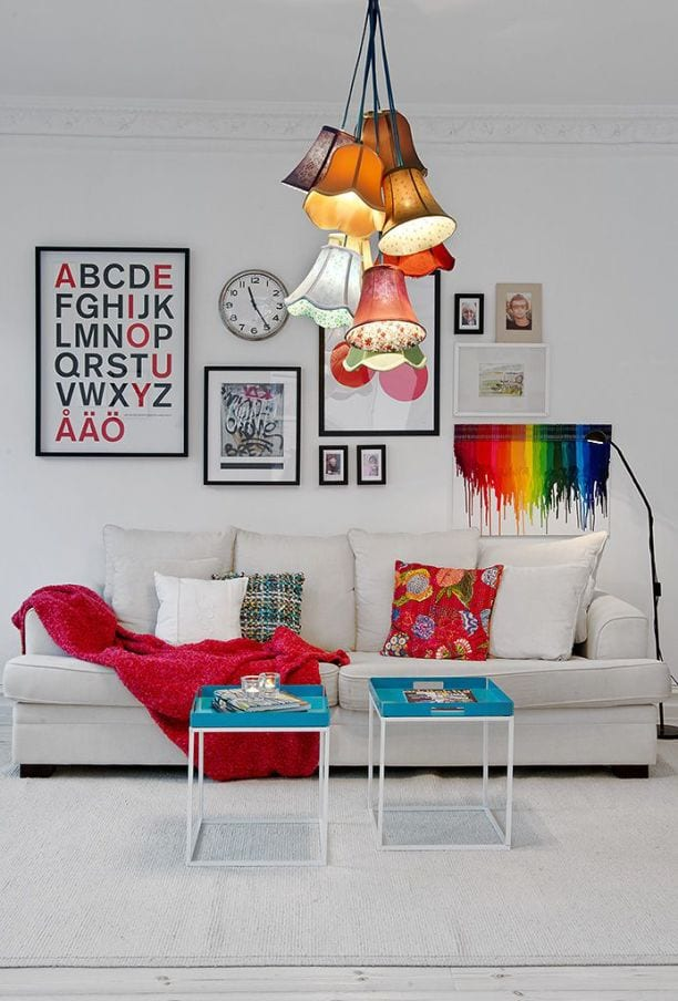 white walls with pops of colour