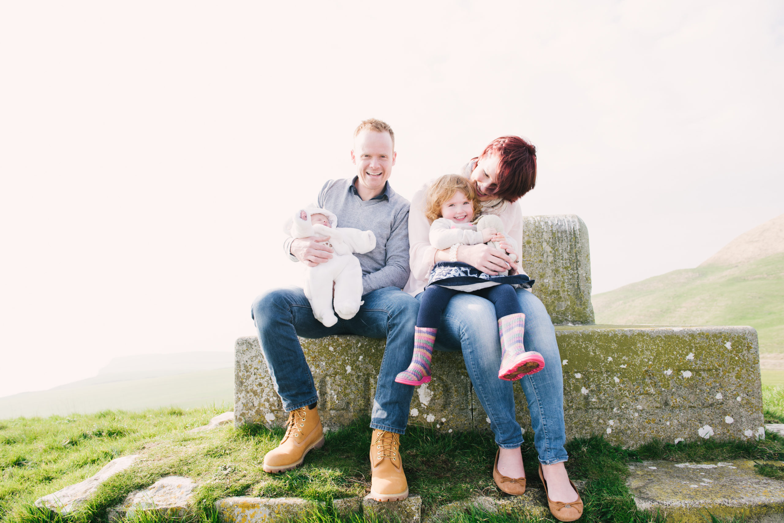 adobe lightroom course, image of family sitting on monument on hill