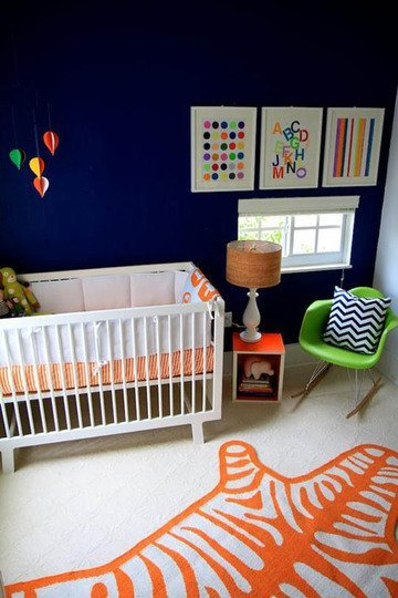 Navy, Grey and Orange Nursery inspiration