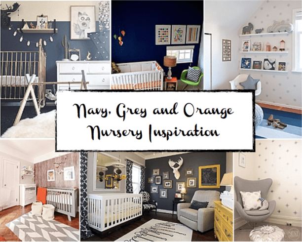 Navy and Grey and Orange Nursery Inspiration