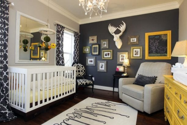 Navy, Grey and Yellow Nursery Theme