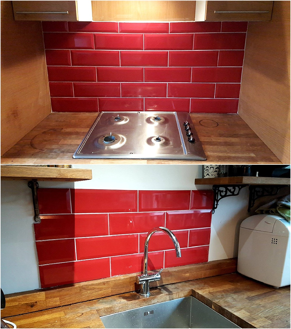 Red subway tiles for kitchen - house decorating