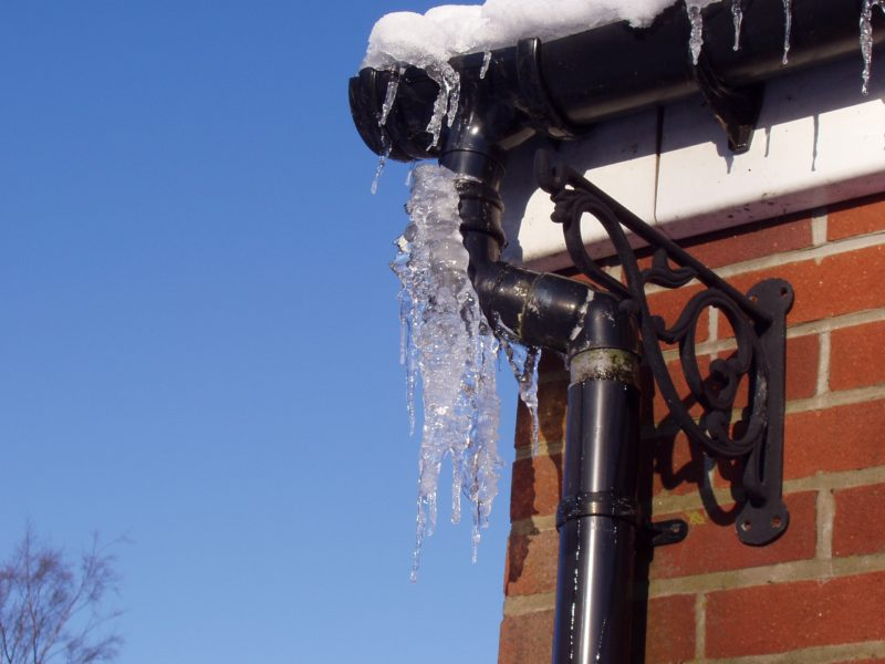 Frozen pipes outside of house